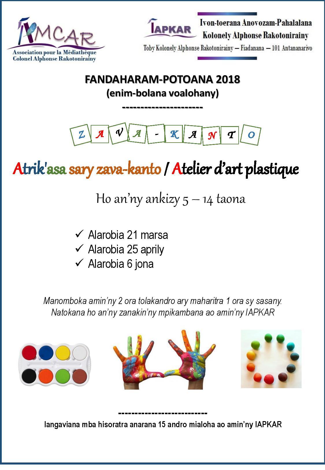 Affiche ateliers art plastique 2018 1 amcar