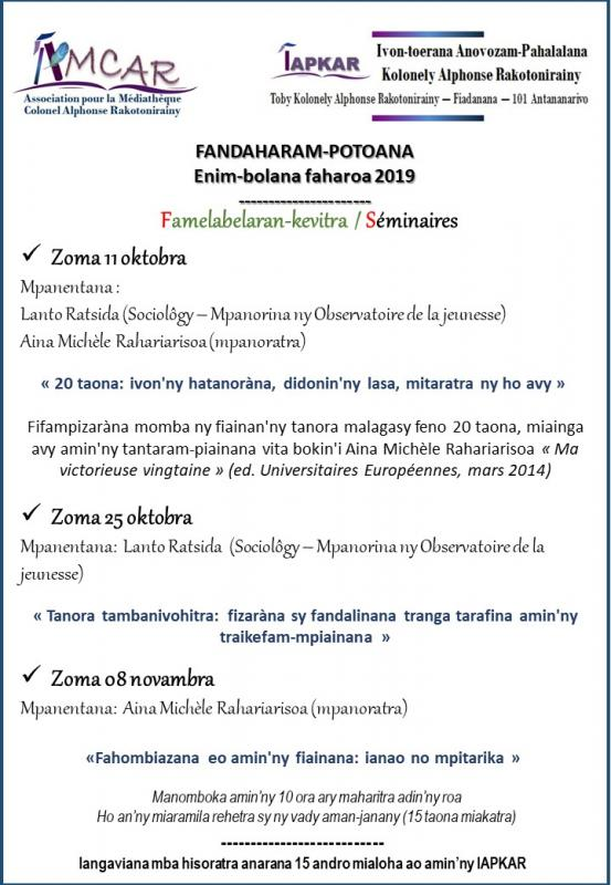 Affiche seminaires1 2nd semestre 2019
