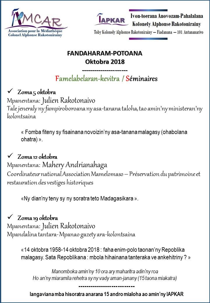 Seminaires iapkar 2nd semestre 2018 2