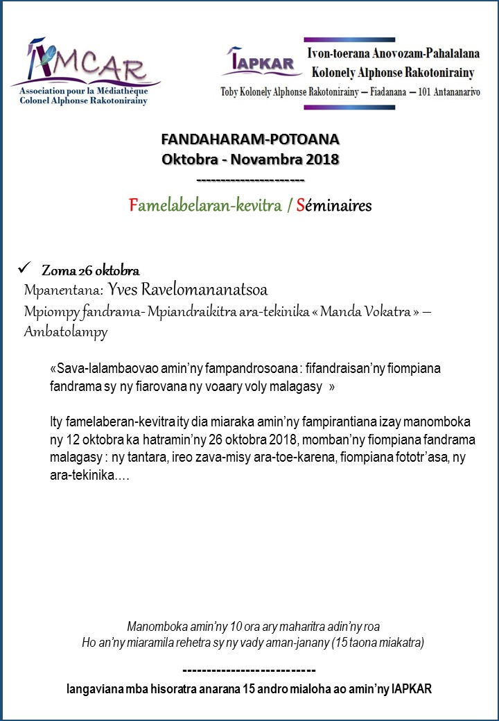 Seminaires iapkar 2nd semestre 2018 3